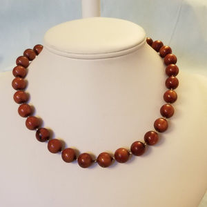 """NWT Handmade """"Pearl""""  Necklace, Red/Brown18"""""""